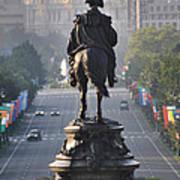 Washington Looking Down The Parkway - Philadelphia Art Print