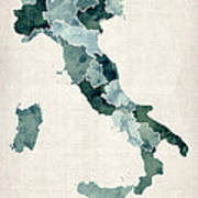 Watercolor Map Of Italy Art Print