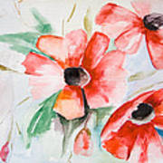 Watercolor Poppy Flower  Art Print