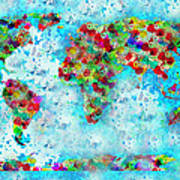 Watercolor Splashes World Map Art Print