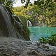 Waterfall At Plitvice National Park In Art Print