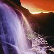 Waterfall At Sunset, Bugaboo Glacier Art Print