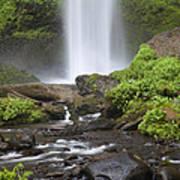 Waterfall In Gorge - Columbia River Gorge Art Print