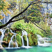 Waterfall In The Plitvice Lakes National Park Art Print