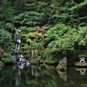 Waterfall - Portland Japanese Garden - Oregon Art Print