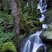 Waterfall Pouring Down Mountainside Art Print