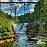 Waterfall Under The Bridge Art Print