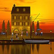 Waterfront Ocean Scene Art Print