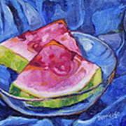 Watermelon On Blue Art Print