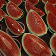 Watermelon Slices Sold At A Market Art Print by Todd Gipstein