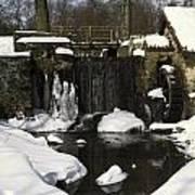 Waterwheel And Stream In Winter Art Print