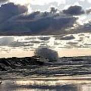 Wave Crashing Into Jetty On Lake Michigan Art Print