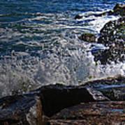 Waves Meet Jetty Art Print