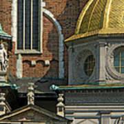 Wawel Domes In Krakow Poland Art Print