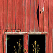 Weathered Red Barn Windows Of New Jersey Art Print