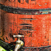 Weathered Red Oil Bucket Art Print