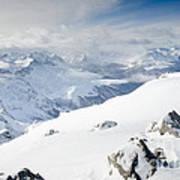 Weissfluhgipfel Summit View From The Summit Across Davos Art Print