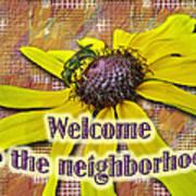 Welcome New Neighbor Card - Bee And Black-eyed Susan Art Print