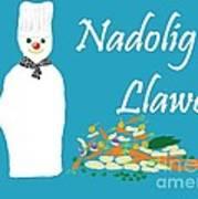 Welsh Snowman Chef Art Print