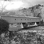 West Cornwall Connecticut Covered Bridge Black And White Art Print
