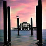 West Pier Silhouette Art Print