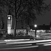 Westminster Night Traffic  Art Print