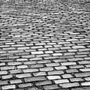 Wet Cobblestoned Huntly Street In The Union Street Area Of Aberdeen Scotland Uk Art Print