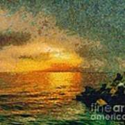 When The Sun Mets The Sea Art Print
