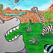 When Zebrasaurs Walked The Earth Art Print