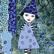 Whimsical Blue Girl Mixed Media Collage  Art Print