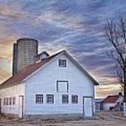 White Barn Sunrise Art Print