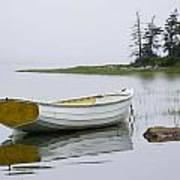 White Boat On A Misty Morning Art Print