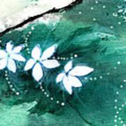 White Flowers Art Print by Anil Nene