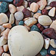 White Heart Stone Art Print by Garry Gay