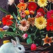 White Rabbit By Basket Of Flowers Art Print by Garry Gay