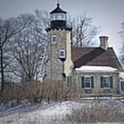 Whitehall Lighthouse In Winter Art Print