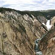 Wide View Of The Lower Falls In Yellowstone Art Print