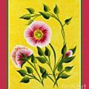 Wild Roses On Yellow With Borders Art Print