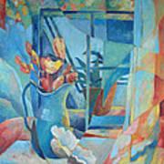 Window In Blue Print by Susanne Clark