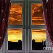 Window With Fiery Sky Art Print