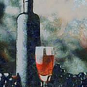 Wine Bottle And Glass Art Print