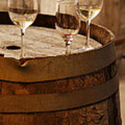 Wine Glasses On An Old Wine Barrel  Art Print by Michael Gray