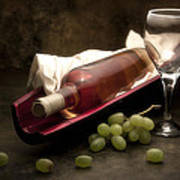 Wine With Grapes And Glass Still Life Art Print by Tom Mc Nemar
