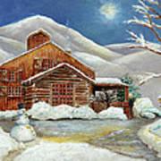 Winter At The Cabin Art Print