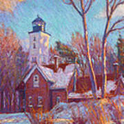 Winter At The Lighthouse Art Print