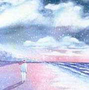Winter Beach Walk Art Print