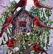 Winter Birdhouse Art Print