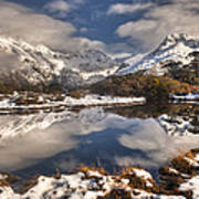 Winter Dawn Reflection Of Mount Art Print by Colin Monteath