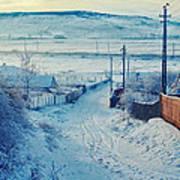 Winter In Romanian Countryside Art Print by Gabriela Insuratelu