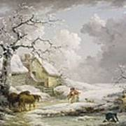 Winter Landscape With Men Snowballing An Old Woman Art Print